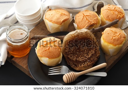 honey soft cheese cake sweet pastries dessert yummy bakery rustic still life closeup delicious rustic background - stock photo