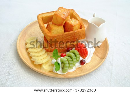 Honey toast with fruit
