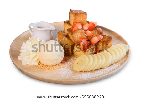Honey toast with strawberry and banana isolated on white background