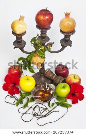 honey with apple for Rosh Hashana � jewish new year - stock photo