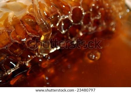 Honey with honeycomb close up - stock photo