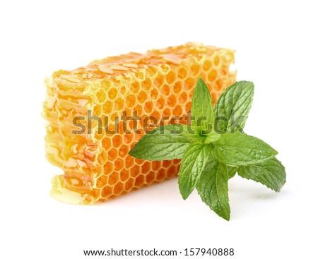 Honey with mint - stock photo