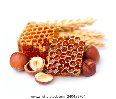 Honeycomb with nuts closeup on the white - stock photo