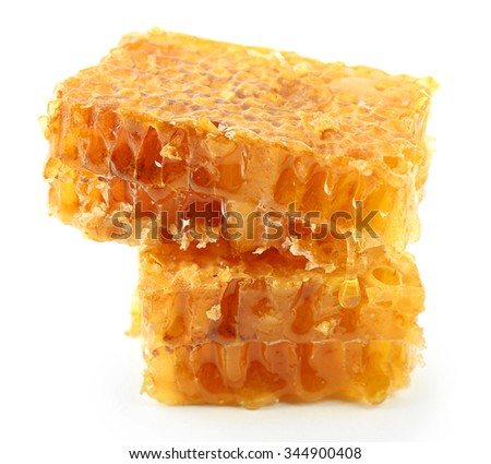 Honeycombs isolated on white - stock photo