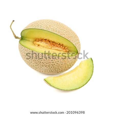 Honeydew Melon/A Juicy melon/A juicy honeydew melon from Japan on a white background. Shot in studio. - stock photo
