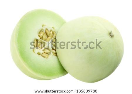 Honeydew Melon on White Background - stock photo