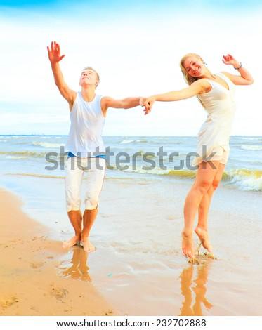 Honeymoon Couple Running  - stock photo