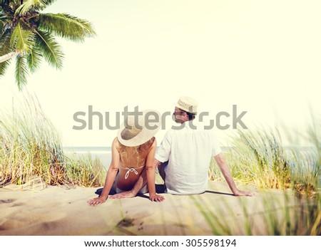 Honeymoon Couple Summer Beach Dating Concept - stock photo