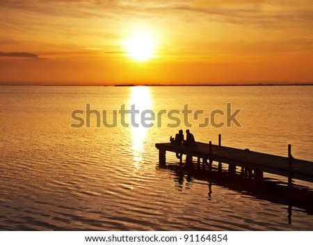 honeymoon on the Lake - stock photo