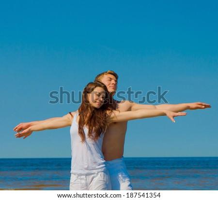 Honeymoon Posing Friends  - stock photo
