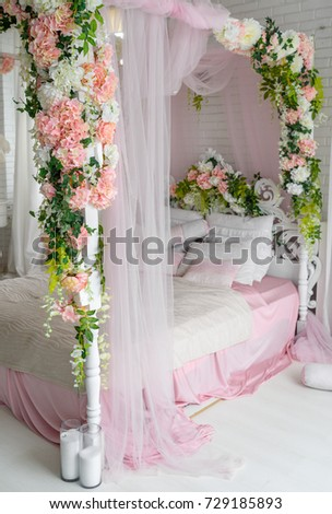 Honeymoon Suite With Canopy Bed Free Space Luxurious Wood Flowers And