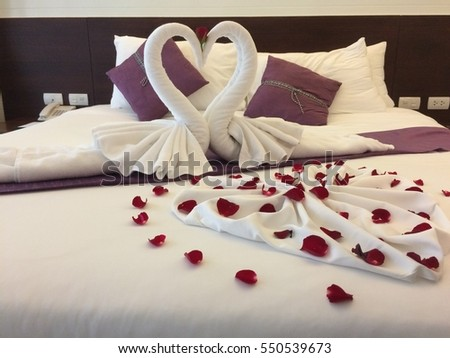Honeymoon Sweet At Luxury Room Swan Make From Towel And Rose On Bed
