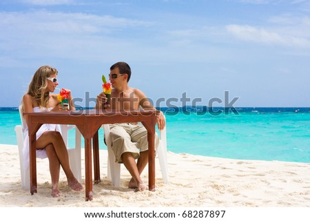 Relaxed summer vacation senior couple old stock photo for Tropical vacations for couples