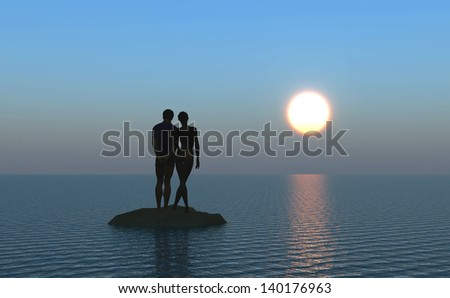 Honeymoon, young couple at the beach watching the moonrise
