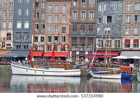 Honfleur, France - august 18 2016 : the old port in summer