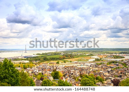 Honfleur village and seine river aerial view. Normandy, France, Europe. - stock photo