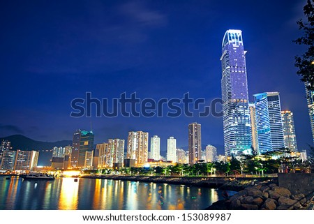 Hong Kong at night and modern buildings