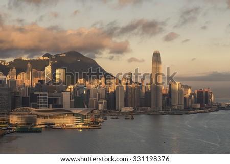 Hong Kong At Sunrise   The Rising Sun Lights Up Hong Kong Island With  Victoria Peak