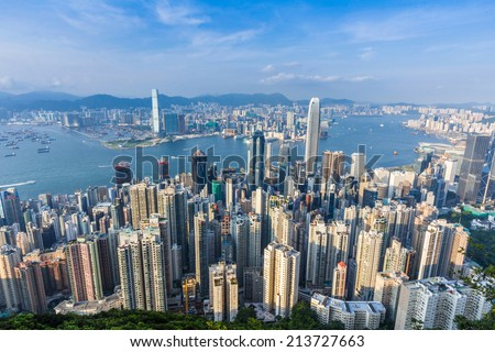 HONG KONG - AUG 21, 2014: View of Hong Kong from Victoria Peak in Hong Kong, China.  This is one of the most dense cities in the world.