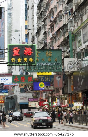 HONG KONG-AUGUST 23:Hong Kong street and signboards  in Hong Kong on August 23, 2007.With population of 7 million people, Hong Kong is one of the most densely populated areas in the world (as at 2006) - stock photo