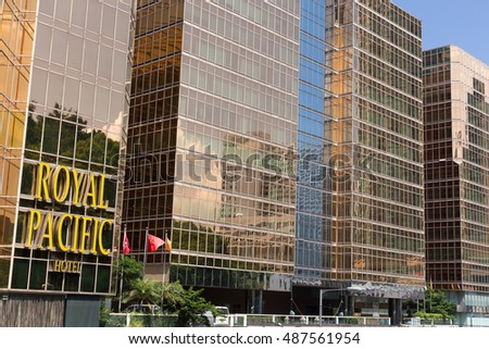 HONG KONG - AUGUST 05: Royal Pacific hotel is loacated near China Ferry Terminal August 05, 2015 at Hong Kong.