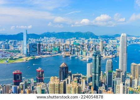 HONG KONG -August 8: Scene of the Victoria Harbour on August 8, 2014 in Hong Kong. Victoria Harbour is the famous attraction place for tourist to visit.