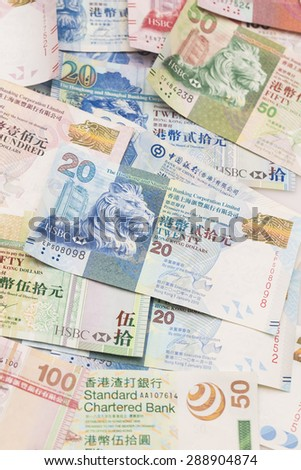 Hong Kong bank notes - stock photo