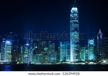 Hong Kong buildings by night - stock photo