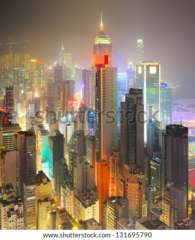 Hong Kong business center at night - stock photo