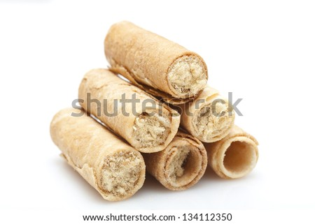 Hong Kong cake roll with pork inside, on white background.