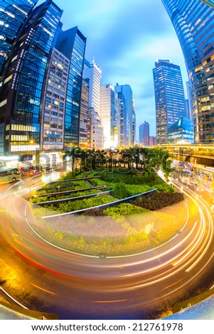 Hong Kong Central Skyline at dusk (Fish Eye Perspective) - stock photo