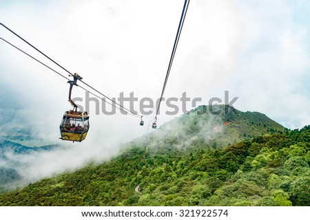 Hong Kong, China: 19 APR 2013 Cable Car at Ngong Ping
