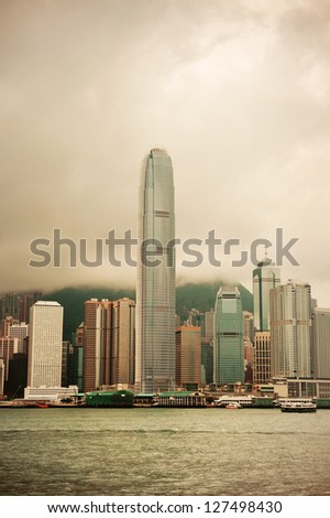 HONG KONG, CHINA - APR 23: The International Finance Centre with city skyline on April 23, 2012 in Hong Kong, China. It is the 2nd in Hong Kong, 4th in China and 8th tallest in the world. - stock photo