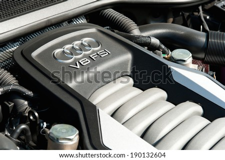 Hong Kong, China April 15, 2011 : Audi A8L Long Base Sedan engine on April 15 2011 in Hong Kong. - stock photo