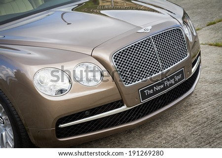 Hong Kong, China Aug 6, 2013 : Bentley The New Flying Spur 2013 Model test drive on Aug 6 2013 in Hong Kong.