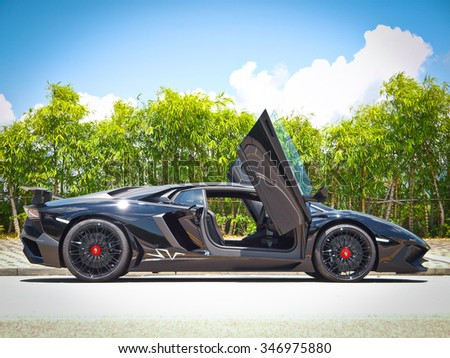 Hong Kong, China Aug 18 2015 : Lamborghini Aventador LP 750 4 Superveloce  2015