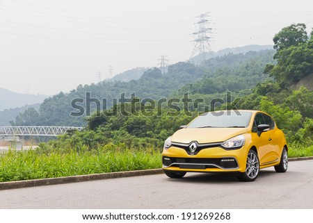 Hong Kong, China Aug 21, 2013 : Renault CLIO RS 2013 Model test drive on Aug 21 2013 in Hong Kong.