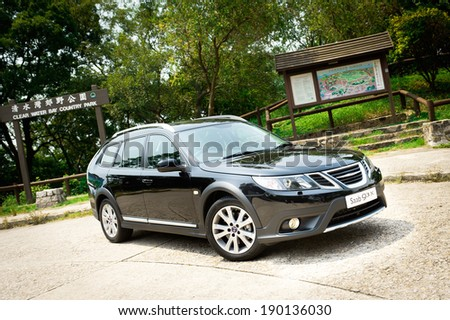 Hong Kong, China AUG 25, 2011 : Saab 93 X test drive on  AUG 25 2011 in Hong Kong. - stock photo