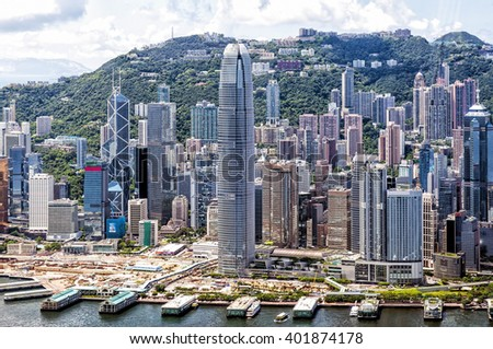 Hong Kong, China - August 23, 2011: Aerial view of Hong Kong Central District, China. Central is the business district of Hong Kong and it is the area where many multinational have their headquarters. - stock photo