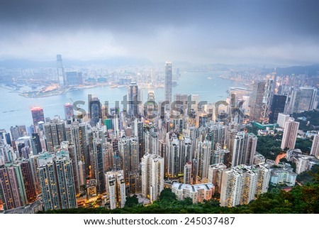 Hong Kong, China city skyline viewed from Victoria peak.