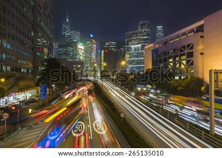hong kong china december 12 car light trails scene at night on