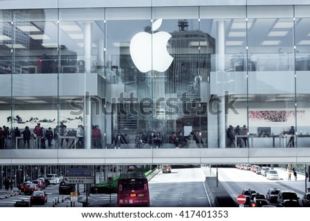 HONG KONG, CHINA - FEB 12: People buy products in the Apple store on February 12, 2016. The store sells Macintosh personal computers, software, iPod, iPad, iPhone, Apple Watch, Apple TV