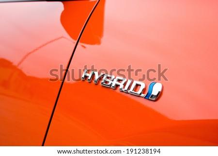 Hong Kong, China Feb 29, 2012 : Toyota Prius Hybrid logo on Feb 29 2012 in Hong Kong. - stock photo