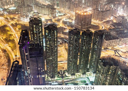 HONG KONG, CHINA - FEBRUARY 21: Pnoramic view from Sky100 on February, 21, 2013, Hong Kong, China. Sky100 is a observation deck on the 100th floor of the International Commerce Centre - stock photo