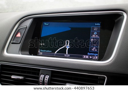 Hong Kong, China Jan 7, 2016 : Audi Q5 2016 GPS System on Jan 7 2016 in Hong Kong.