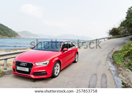 Hong Kong, China Jan 28, 2015 : Audi Q3 Sedan 1.4 Ultra 2015 Test Drive on Jan 28 2015 in Hong Kong. - stock photo