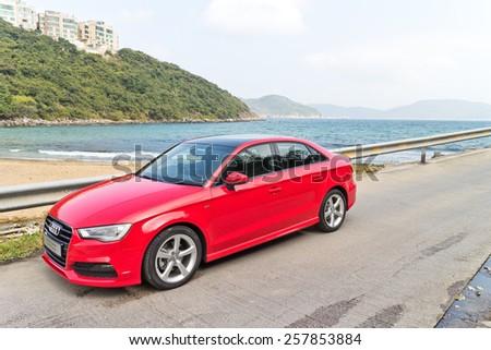 Hong Kong, China Jan 28, 2015 : Audi Q3 Sedan 1.4 Ultra 2015 Test Drive on Jan 28 2015 in Hong Kong. - stock photo