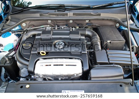 Hong Kong, China Jan 9, 2015 : Volkswagen Jetta 2015 engine on Jan 9 2015 in Hong Kong. - stock photo