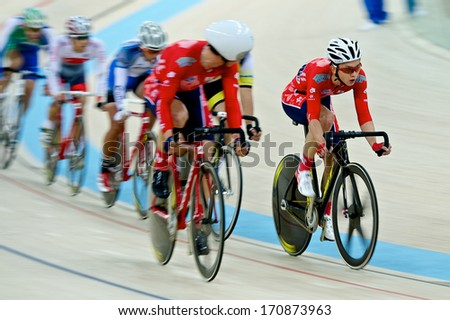 Hong Kong, China � 12 January 14 � KWOK Ho Ting of Hong Kong wins the elite men scratch 15 km final on day three of the Hong Kong International Track Cup on 12 January 2014 in Hong Kong
