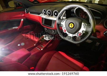 Hong Kong, China June 8, 2013 : Ferrari FF Super Race Car 2013 interior at Show Room on June 8 2013 in Hong Kong. - stock photo